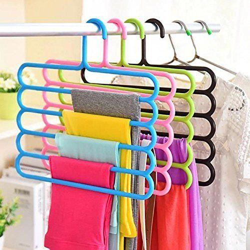 Kuber Industries™ Multipurpose Hanger For Shirts,Ties ,Trouser,Towel Cupboard Organiser,Strong - Multi Color (1 Pc) (Code-KST047)