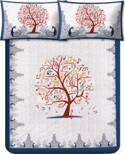 Kuber Industries™ Musical Tree 180 TC 100% Cotton Double Bedsheet with 2 Pillow Covers – Blue (100*108 Inches)