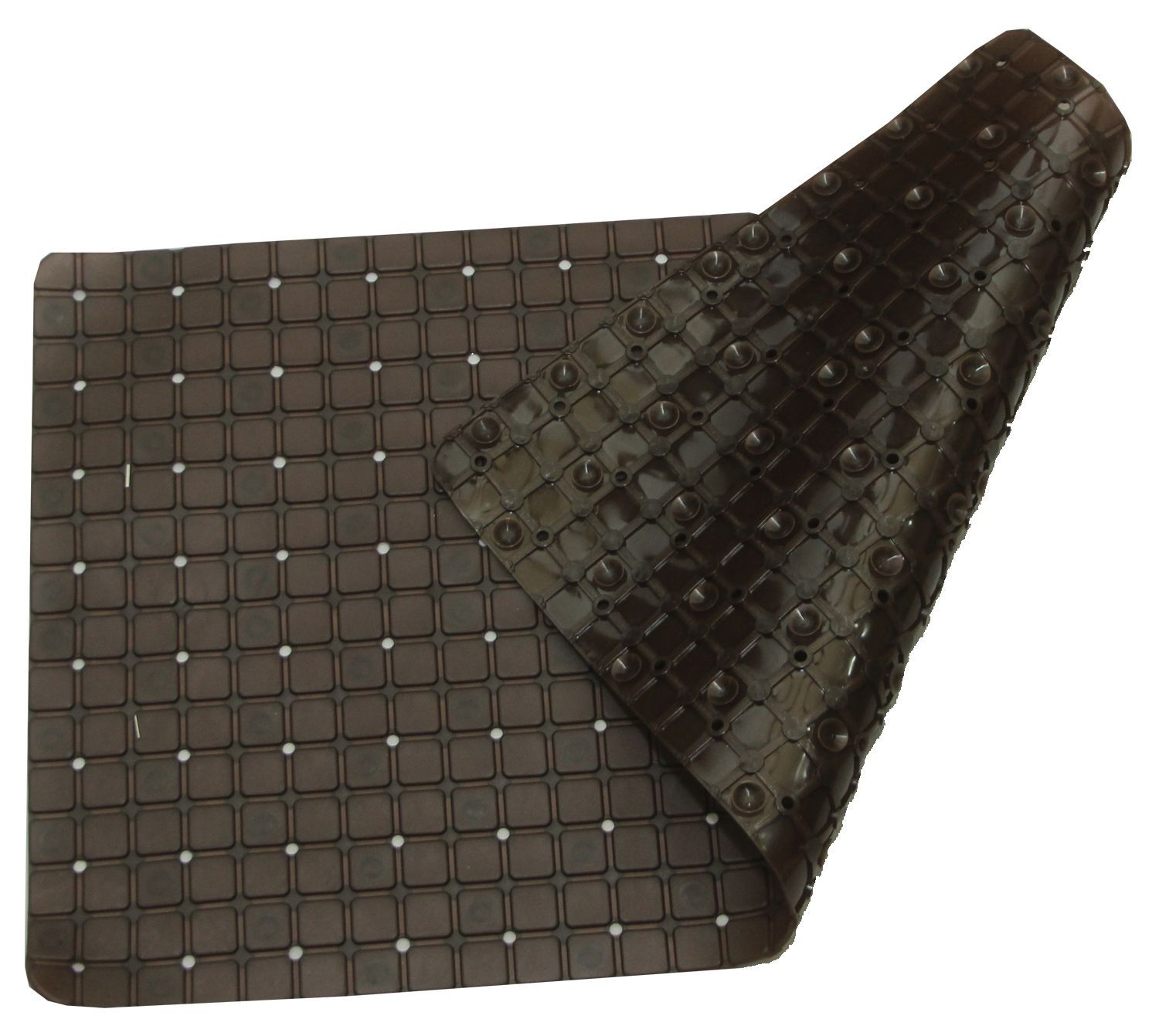 Kuber Industries™ Non Slip Bathroom Mat,Bathtub Mat,Shower Mat,Bath Mat With Suction Cups (Brown) Checkered Design Code-AB16