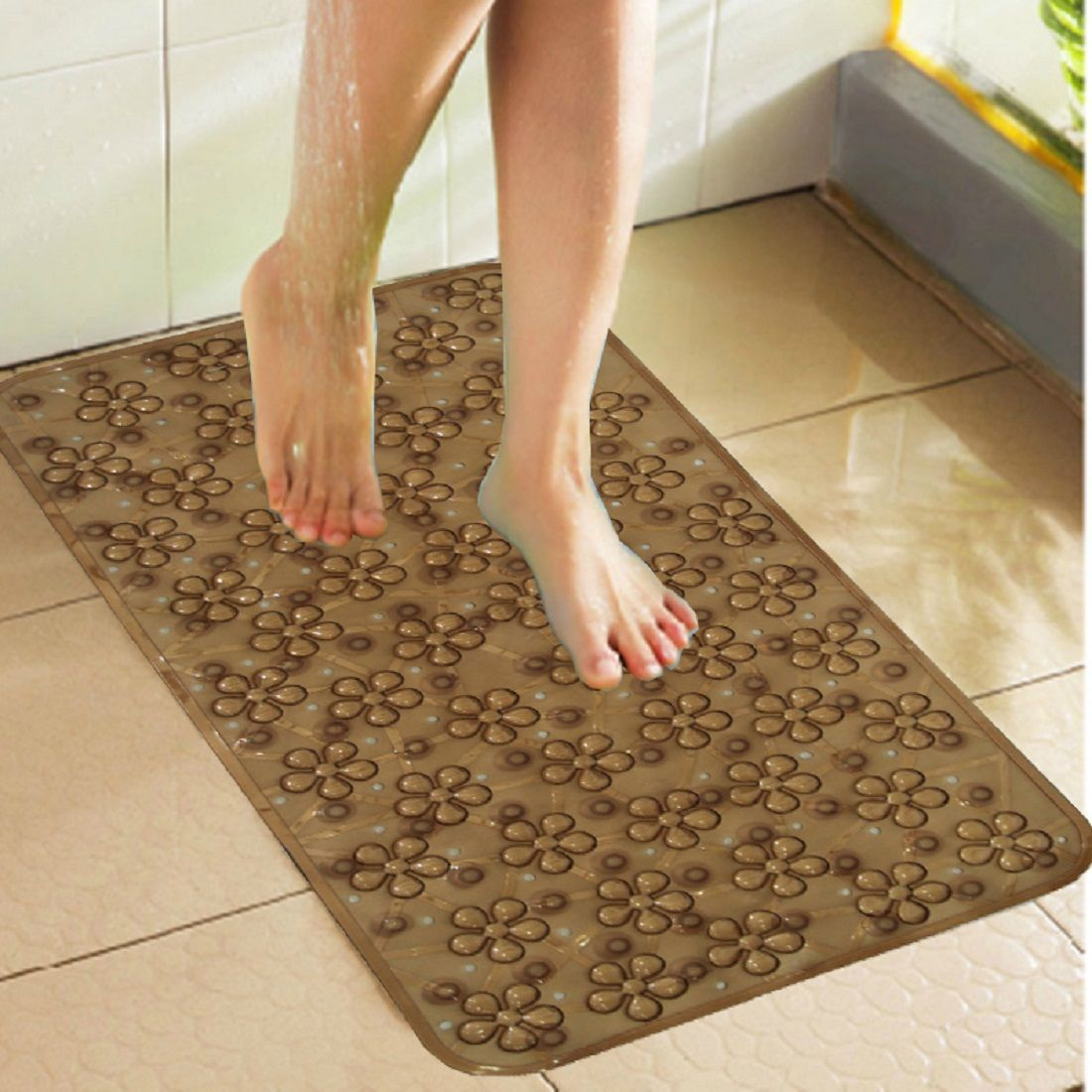 Kuber Industries Non Slip Bathroom Mat Bathtub Mat Shower Mat Bath Mat With Suction Cups