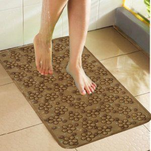 Kuber Industries™ Non Slip Bathroom Mat,Bathtub Mat,Shower Mat,Bath Mat With Suction Cups (Brown) Code-AB09