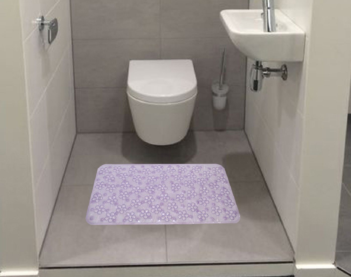 Kuber Industries™ Non Slip Bathroom Mat,Bathtub Mat,Shower Mat,Bath Mat With Suction Cups (Purple) Code-AB05