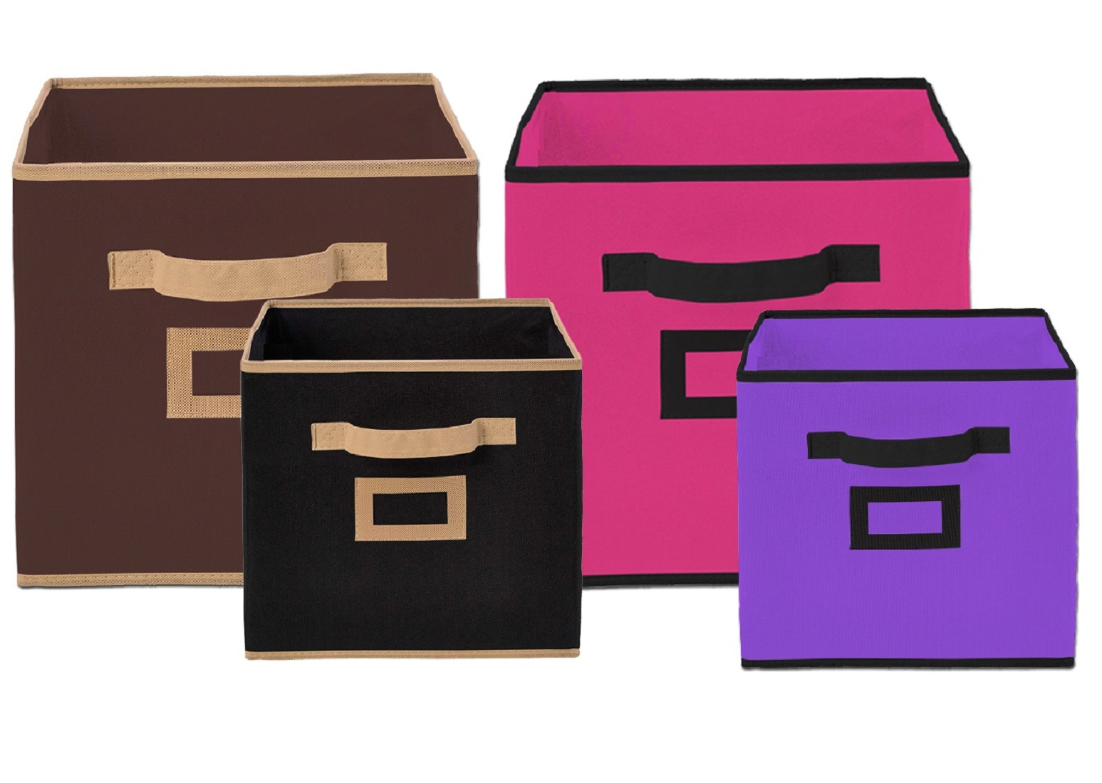 Kuber Industries Non Woven 4 Pieces Small & Large Foldable Storage Organiser Cubes/Boxes (Black & Coffee & Pink & Purple) - CTKTC35352