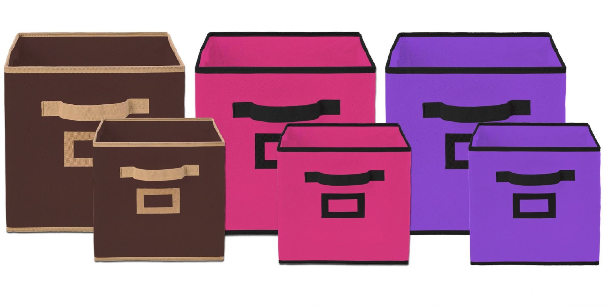 Kuber Industries Non Woven 6 Pieces Small & Large Foldable Storage Organiser Cubes/Boxes (Coffee & Pink & Purple) - CTKTC35382