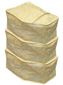 Kuber Industries™ Non Woven Blouse Cover  Set Of 3 Pcs (Gold Print) Code-GL31