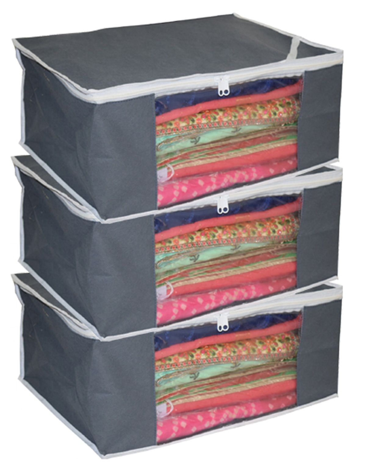 Kuber Industries™ Non Woven Saree Cover/ Saree Bag/ Storage Bag Set Of 3 Pcs (Grey) 9 Inches Height (Code-SCGNW01)
