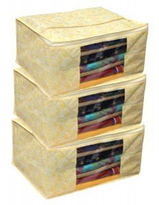 Kuber Industries™ Non Woven Saree Cover/Regular Cloth Bag/Wardrobe Organiser Set Of 3 Pcs (Gold Print) Code-GL01