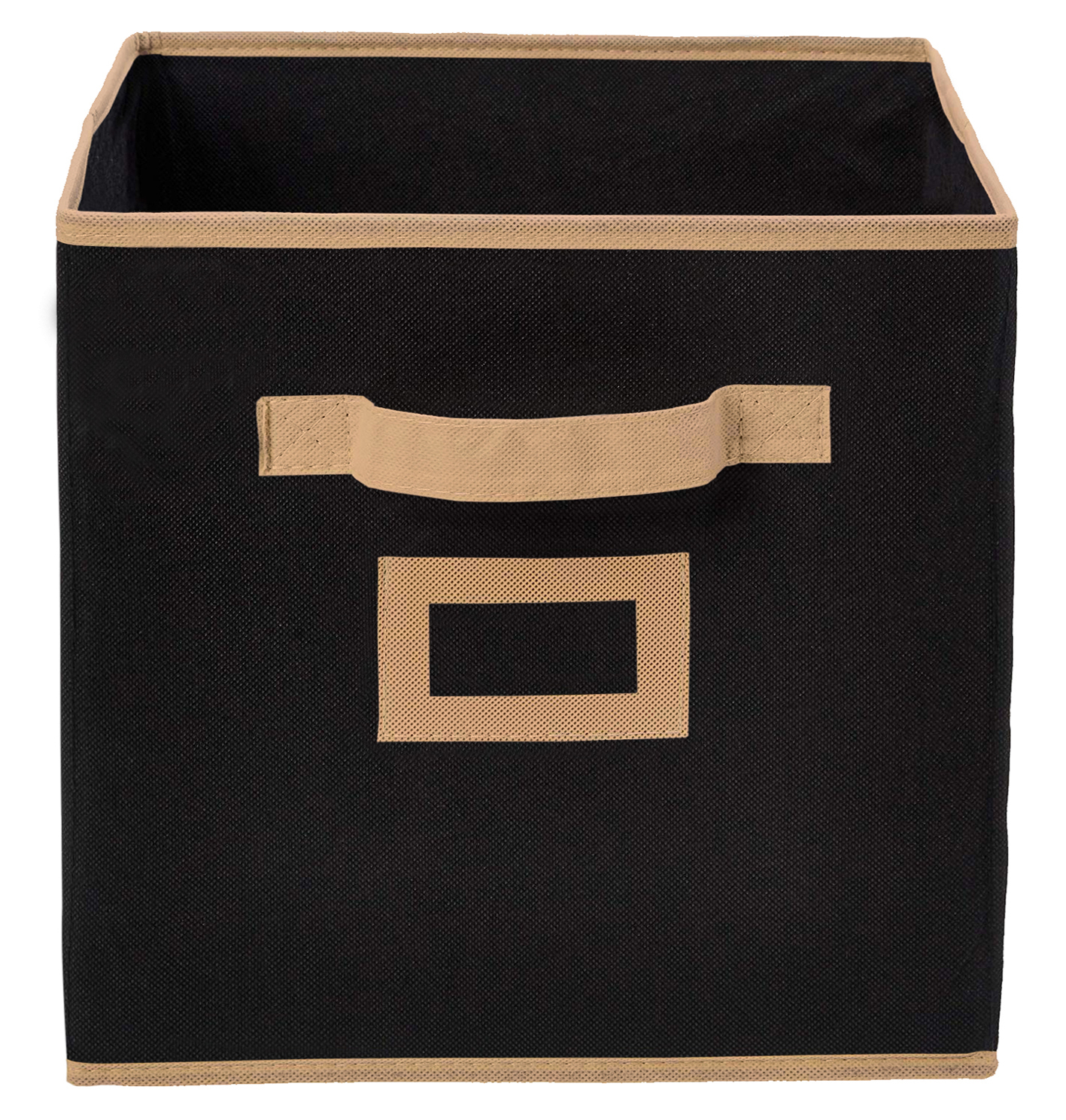 Kuber Industries Non Woven Small Foldable Storage Organiser Cubes/Boxes (Black) - CTKTC35124