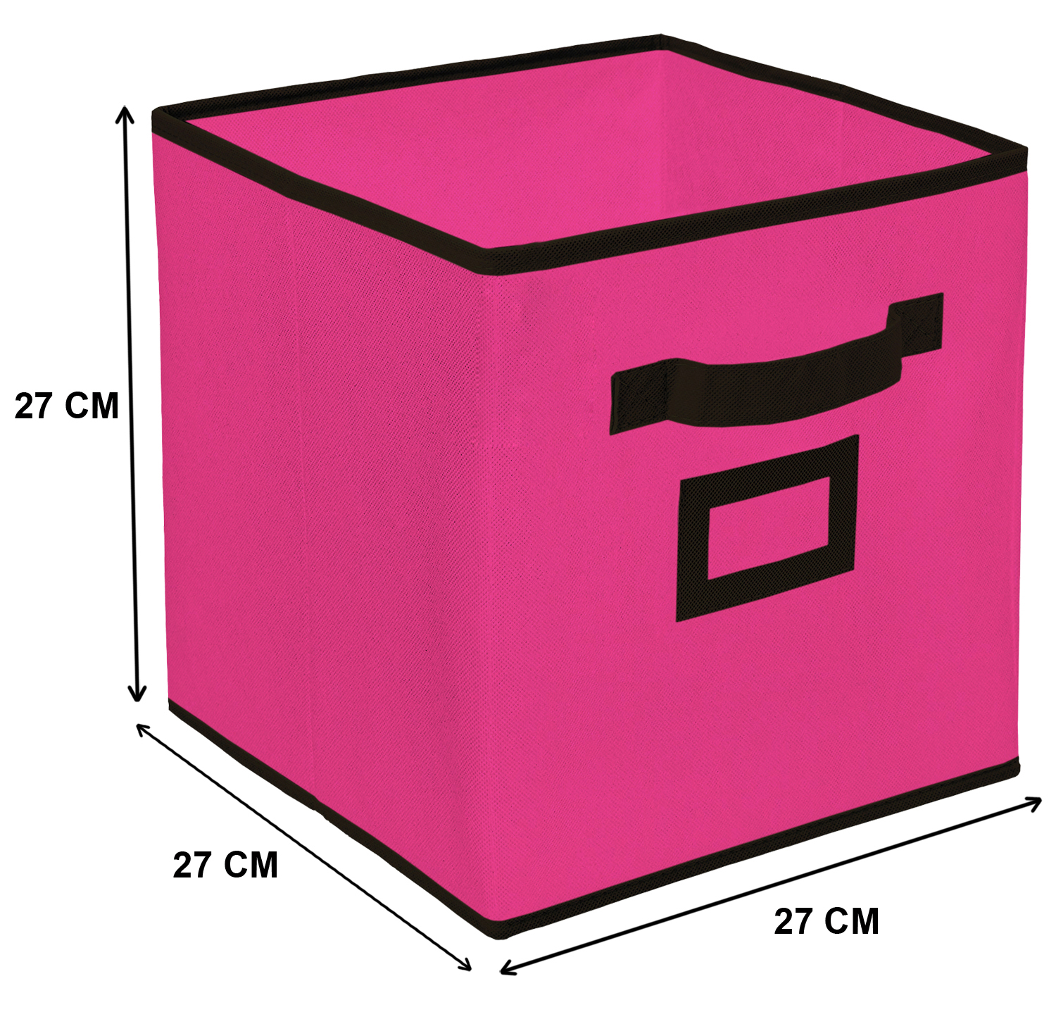 Kuber Industries Non Woven Small Foldable Storage Organiser Cubes/Boxes (Pink) - CTKTC35144