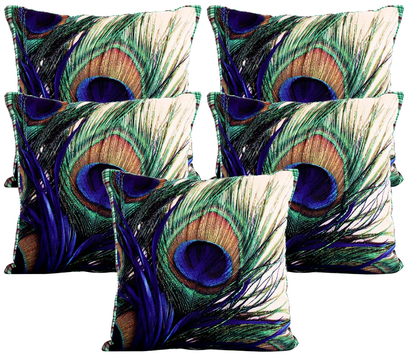 Kuber Industries Peacock Wings Design Cotton Decorative Cushion Covers 16 X 16 Inches Set Of 5
