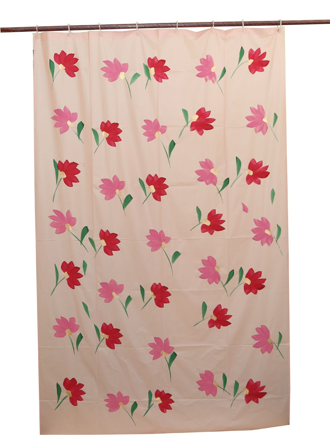 Kuber Industries™ Pink Floral Design PVC Premium Shower Curtain - 7 Feet - Pack of 2 Pcs 84*54 Inches- 8 Hooks (SHWC08)
