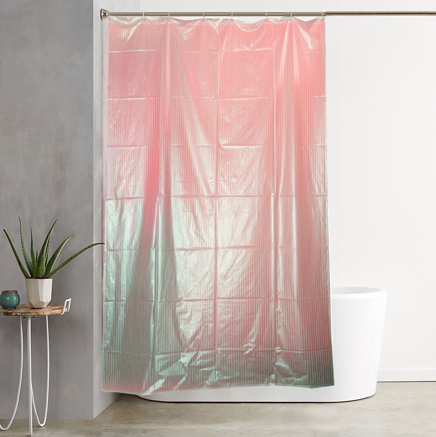 Kuber Industries™ Pink Self Design PVC Premium Shower Curtain - 7 Feet -84*54 Inches Set of 2 Pcs- 8 Hooks (SHWCU038)