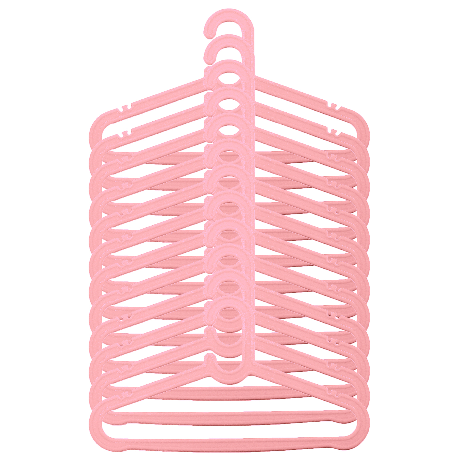 Kuber Industries Plastic 12 Pcs Hanger Set for Wardrobe (Light Pink)-CTKTC21407