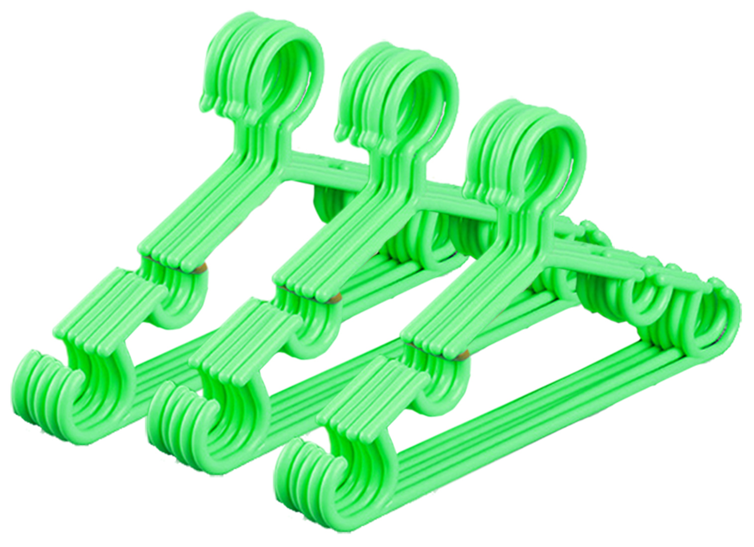Kuber Industries Plastic 15 Pieces Baby Hanger Set for Wardrobe (Green) -CTKTC39431