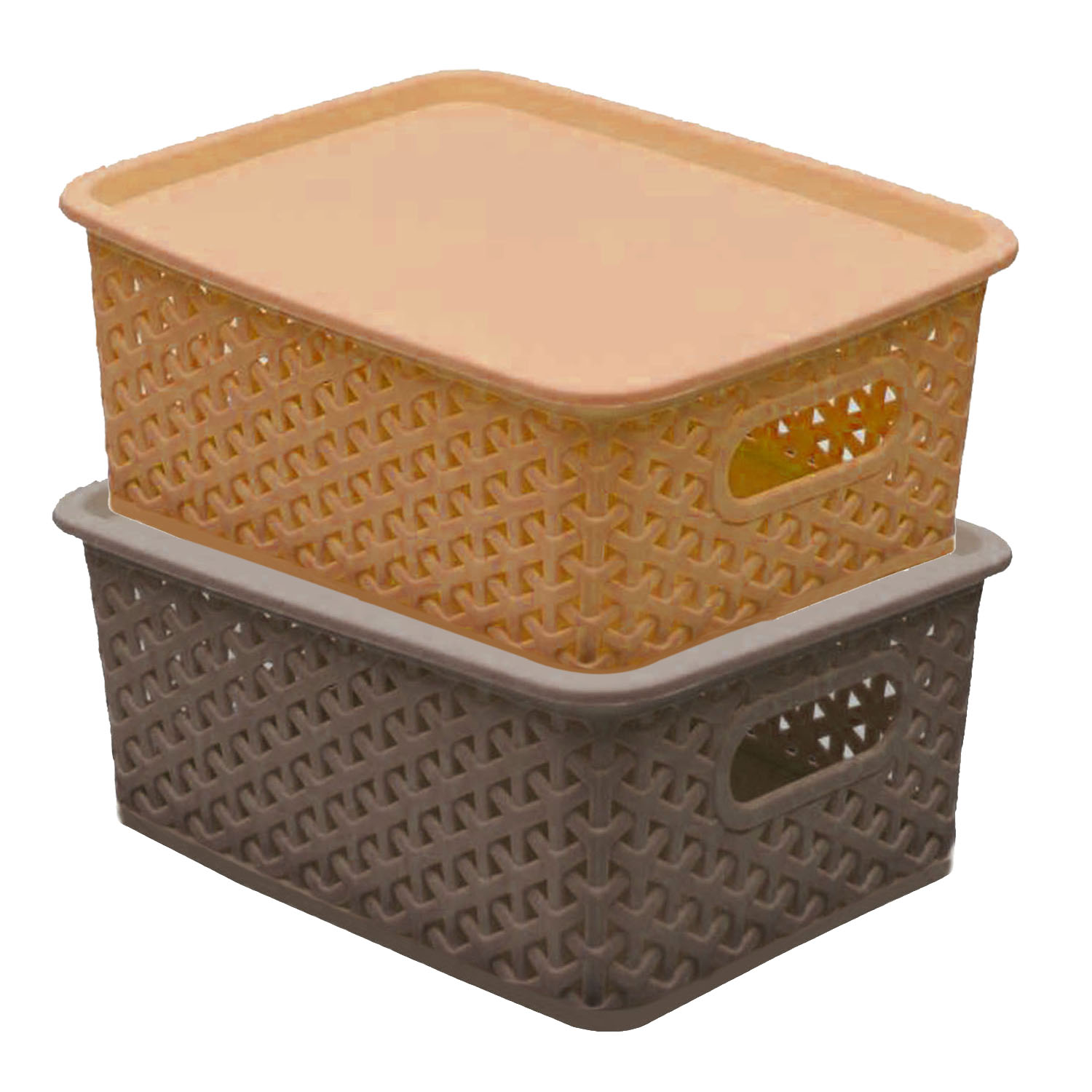 Kuber Industries Plastic 2 Pieces Extra Small Size Multipurpose Solitaire Storage Basket with Lid (Multi) - CTKTC23258