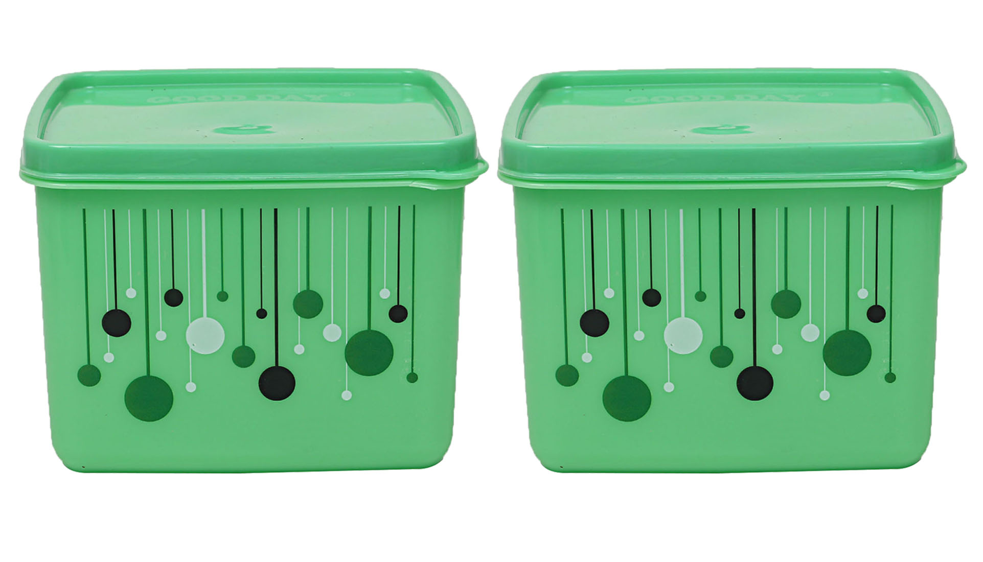 Kuber Industries Plastic 2 Pieces Multipurpose Storage Container Set 1000 ML (Green) - CTKTC23272