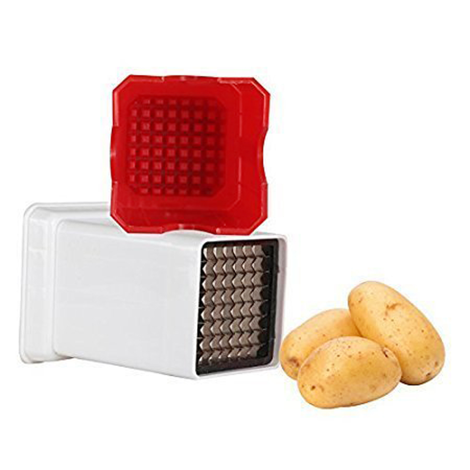 Kuber Industries Plastic 2 Pieces Potato Chipser French Fries, Potato Finger Chips Cutter ( Red) - CTKTC30885