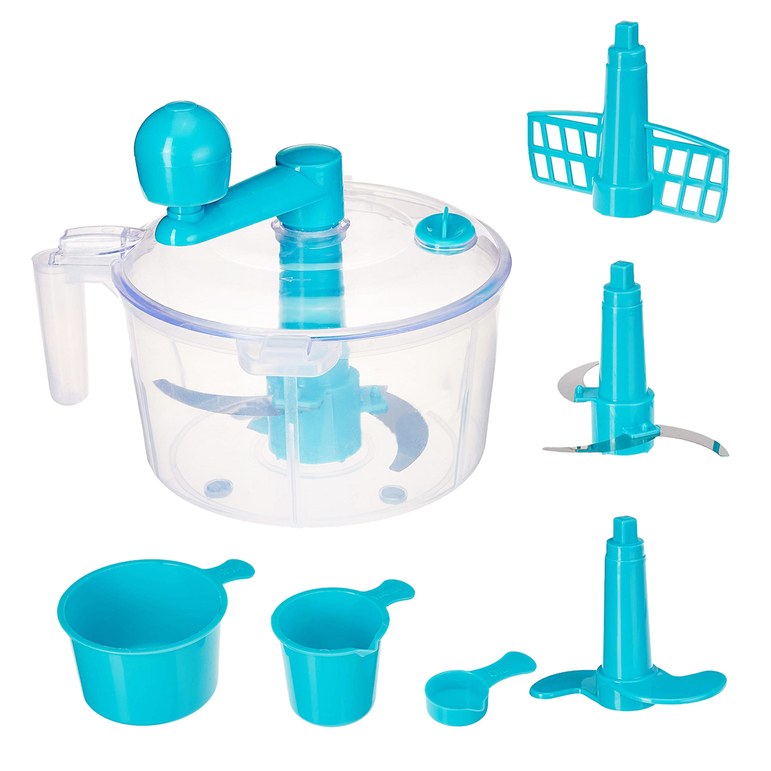 Kuber Industries Plastic 3 In 1 Dough/Atta Maker Vegetable Cutter  Beater/Churner (Sky Blue) - CTKTC30887