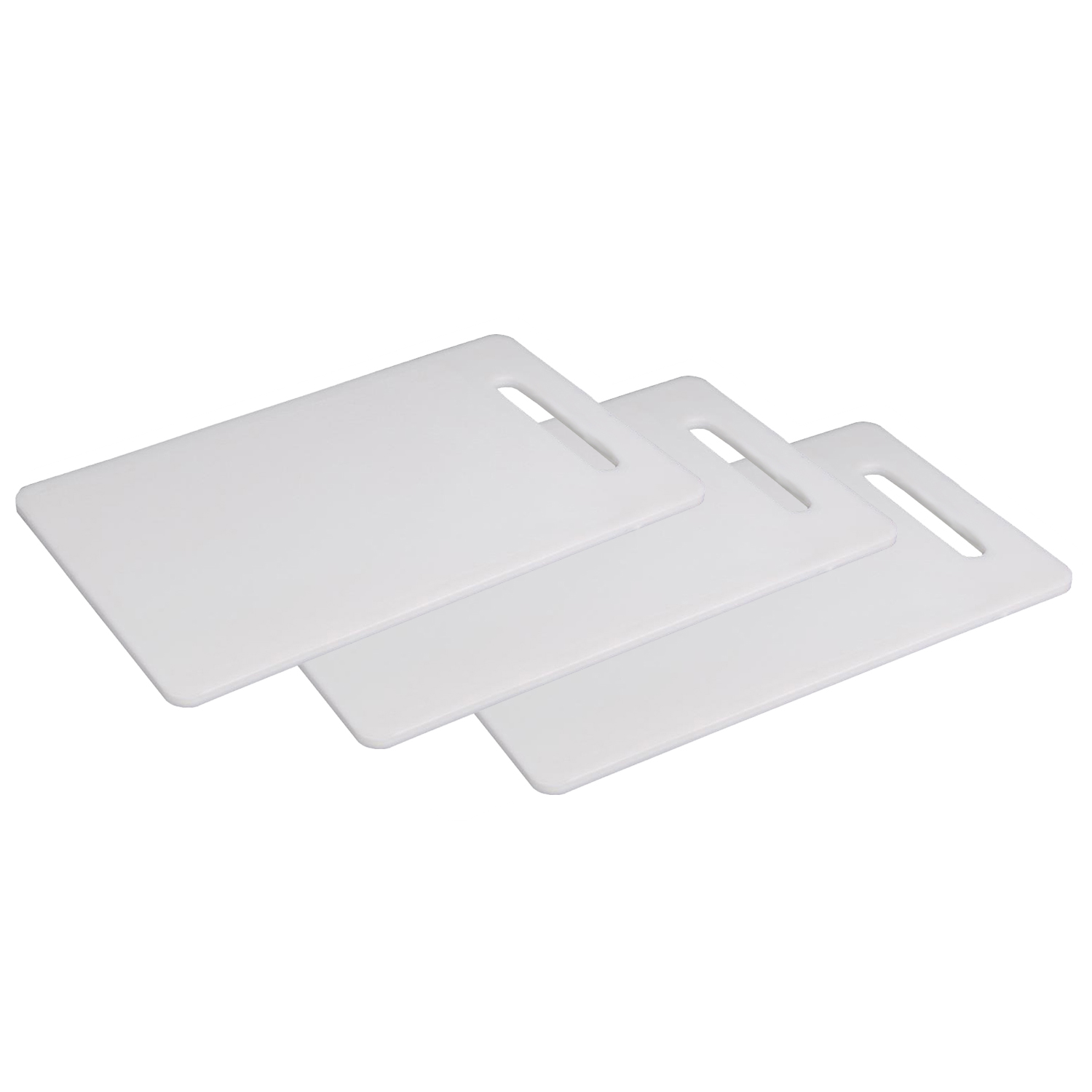 Kuber Industries Plastic 3 Pieces Chopping Cutting Board With Handle (White) -CTLTC11057
