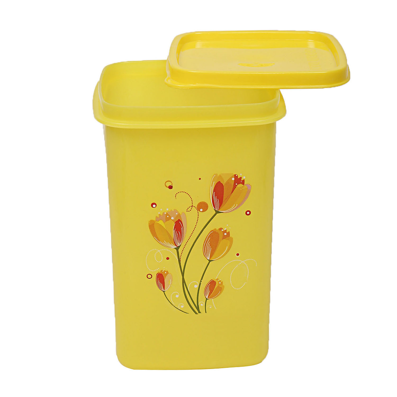 Kuber Industries Plastic 3 Pieces Multipurpose Storage Container Set 1000ml (Yellow) - CTKTC23389