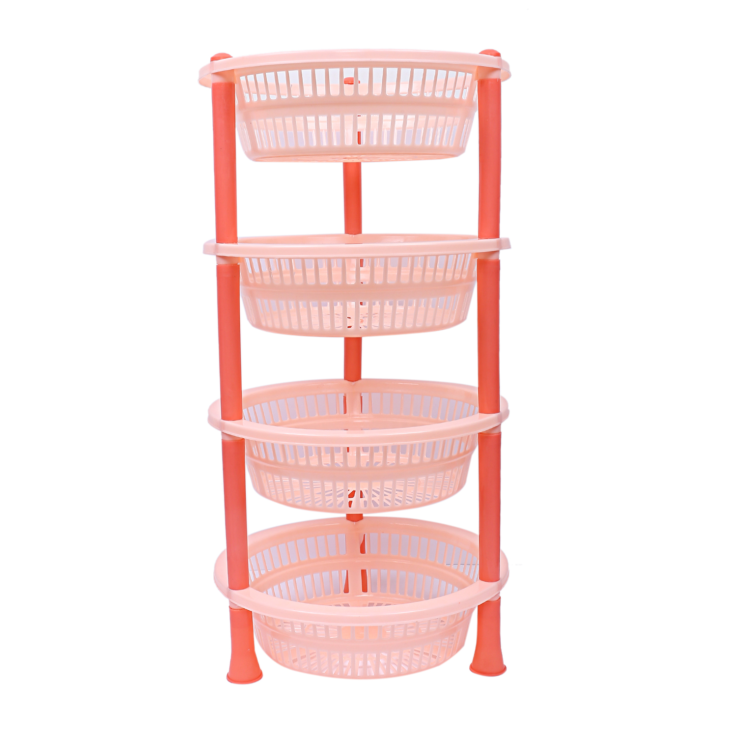 Kuber industries Plastic 4 Layer Multi-purpose Kitchen Storage Basket Rack (Beige)-CTKTC13207