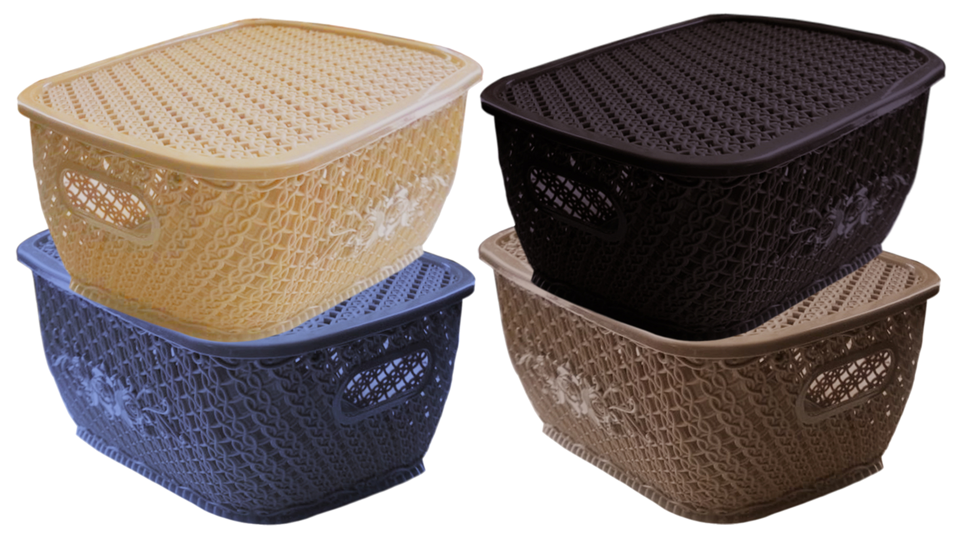 Kuber Industries Plastic 4 Pieces Medium Size Multipurpose Solitaire Storage Basket for Kitchen, Office, Bedroom, Bath Room with Lid (Brown & Coffee & Grey & Cream)