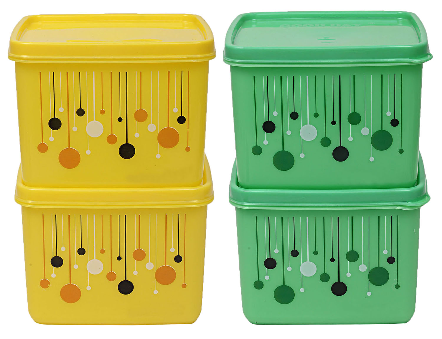 Kuber Industries Plastic 4 Pieces Multipurpose Storage Container Set 1000 ML (Yellow & Green) - CTKTC23308