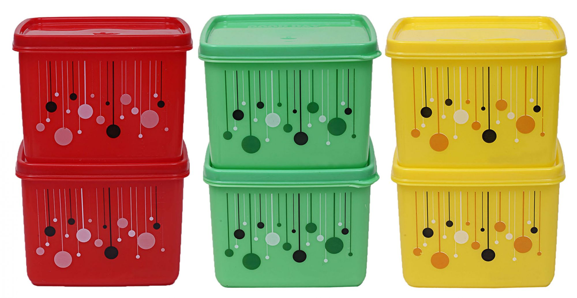 Kuber Industries Plastic 6 Pieces Multipurpose Storage Container Set 1000 ML (Red, Green & Yellow) - CTKTC23310