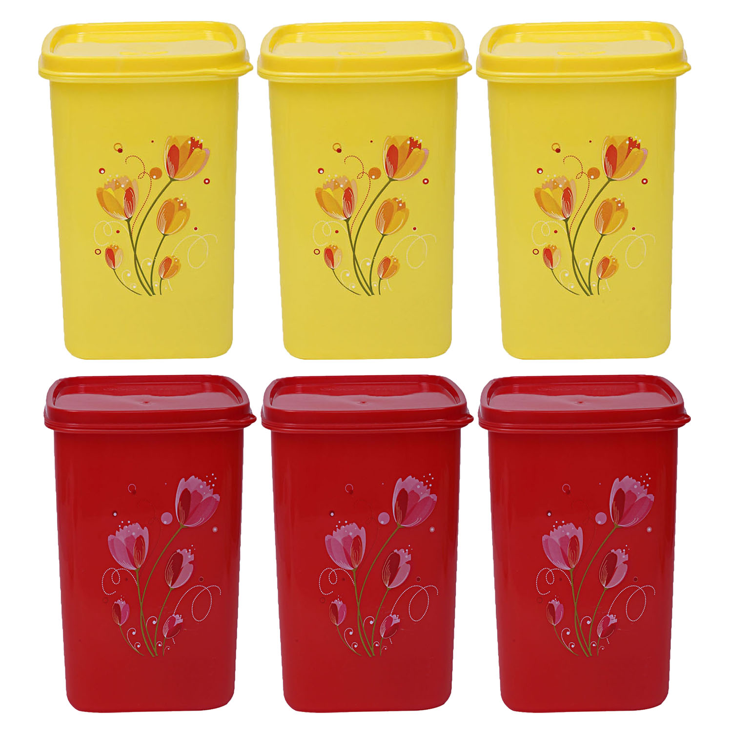 Kuber Industries Plastic 6 Pieces Multipurpose Storage Container Set 1000ml (Yellow & Red) - CTKTC23402