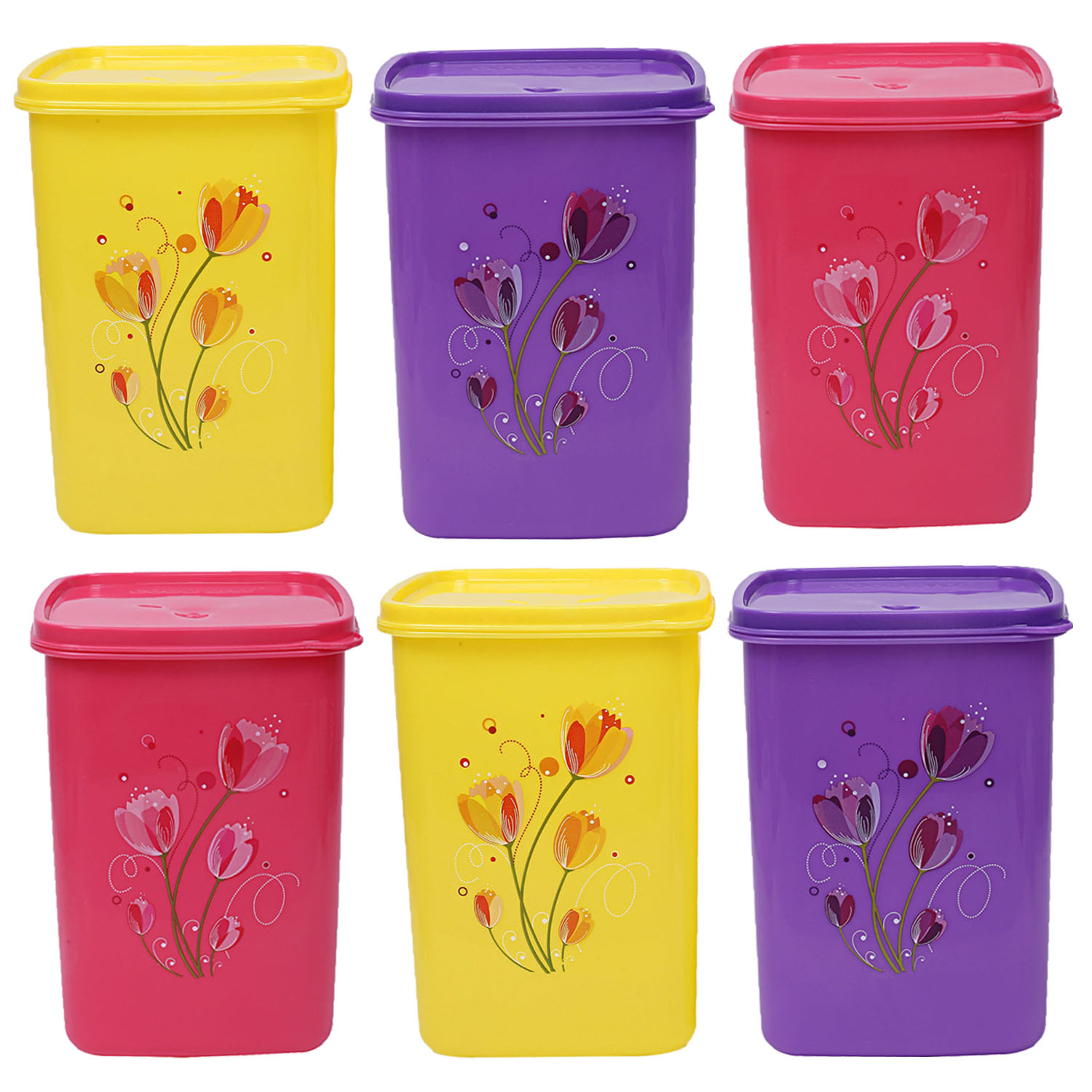 Kuber Industries Plastic 6 Pieces Multipurpose Storage Container Set 2000ml (Pink, Purple & Yellow) - CTKTC23358