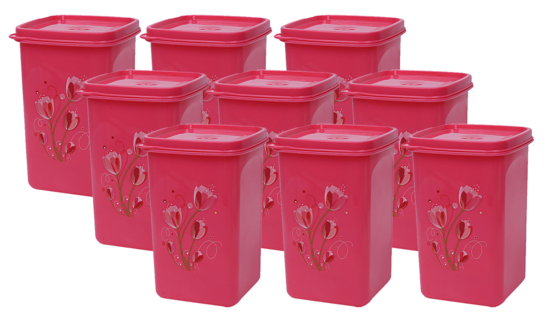 Kuber Industries Plastic 9 Pieces Multipurpose Storage Container Set 1000ml (Pink) - CTKTC23386