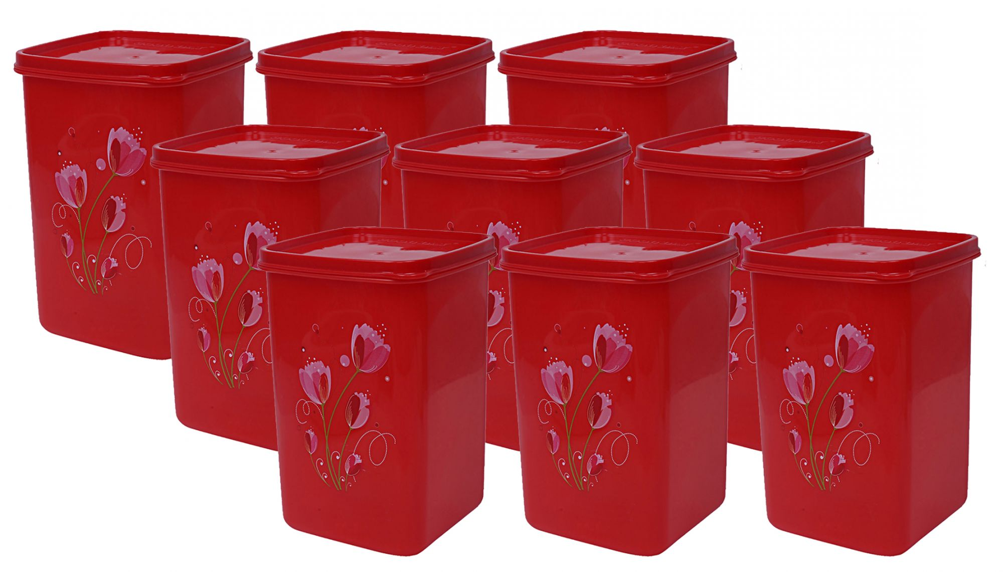 Kuber Industries Plastic 9 Pieces Multipurpose Storage Container Set 1000ml (Red) - CTKTC23369