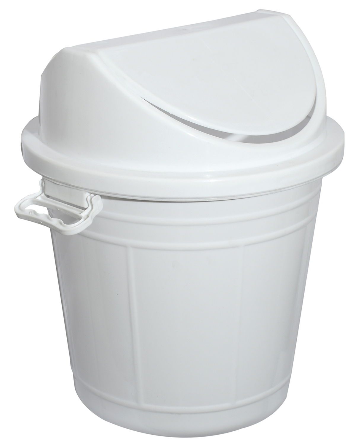 Kuber Industries Plastic Swing Lid Garbage Waste Dustbin for Home, Office, Factory, 30 Liters, Large Size (White) -CTKTC38706