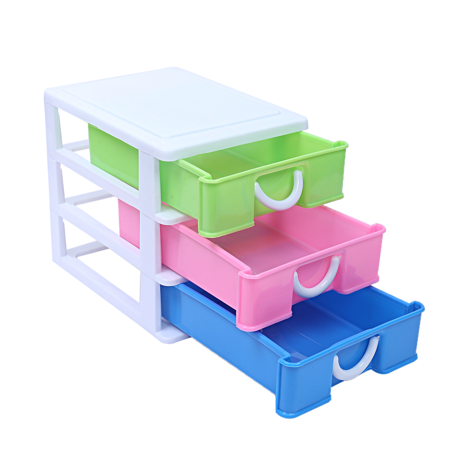 Kuber Industries Plastic Three Layer Drawer Storage Cabinet Box (Multi)-CTKTC13171