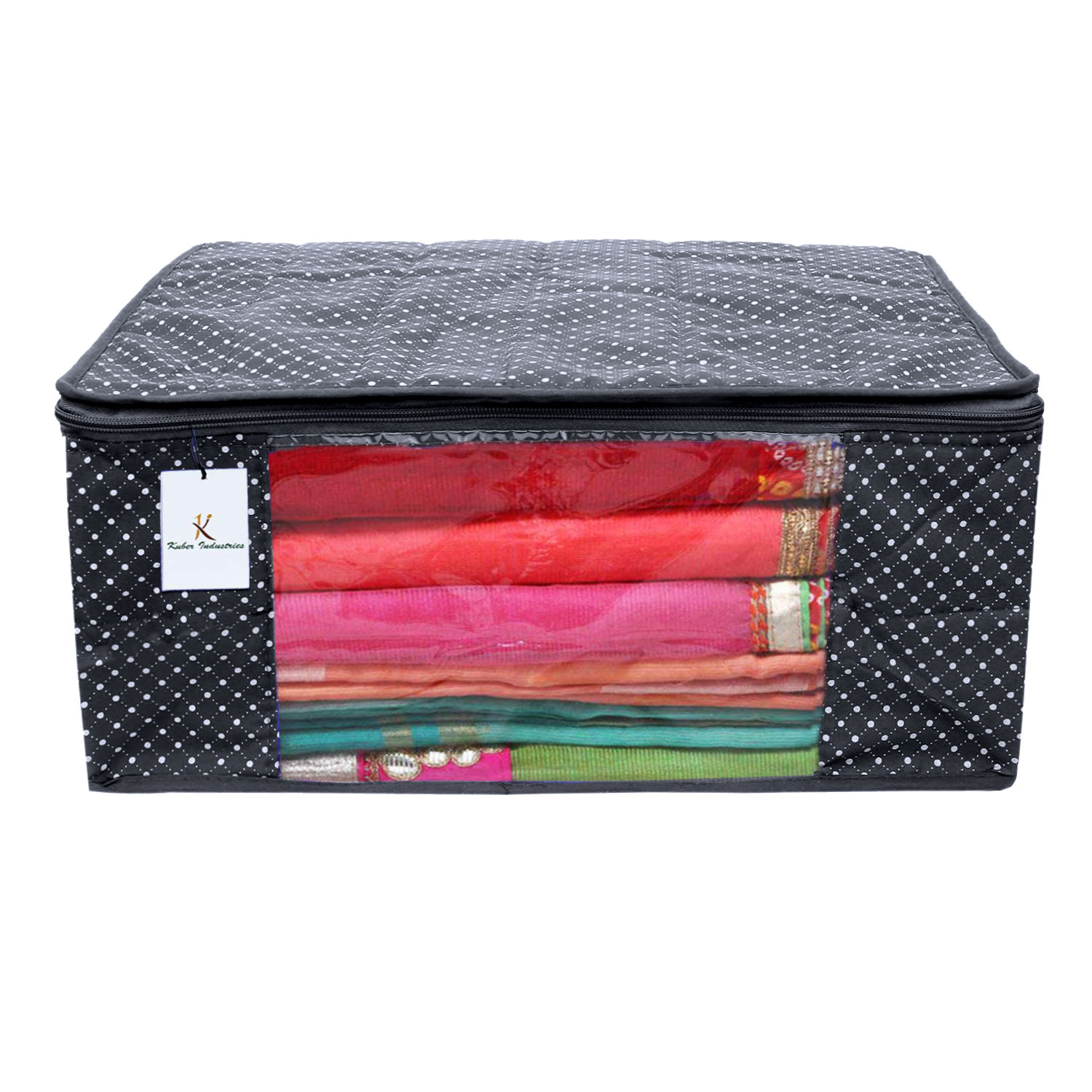 Kuber Industries Polka Dots 2 Pieces Cotton 3 Layered Quilted Saree Cover (Red & Black) - CTKTC31130