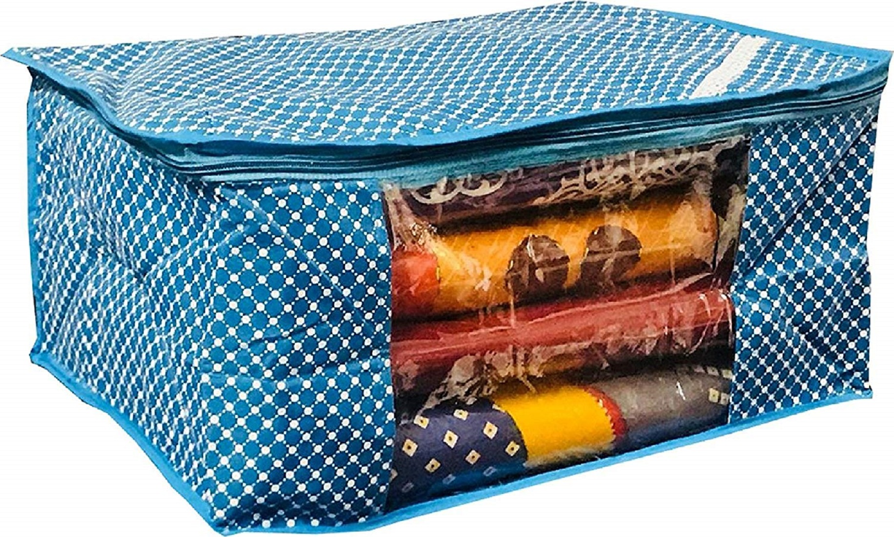 Kuber Industries Polka Dots 2 Pieces Cotton 3 Layered Quilted Saree Cover (Red & Sky Blue) - CTKTC31131