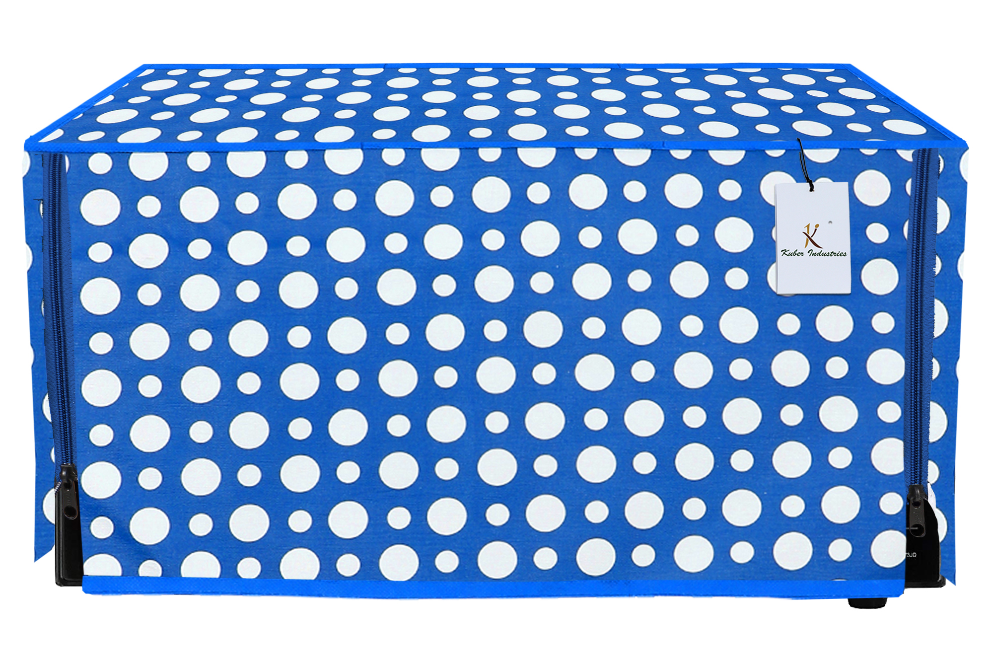 Kuber Industries Polka Dots Design PVC Microwave Oven Full Closure Cover for 20 Litre (Blue)