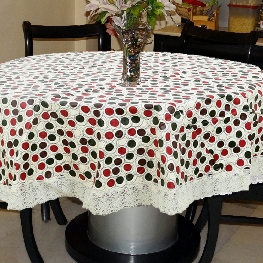 Kuber Industries Polka Dots Print Round, 60 Inch Round Tablecloth Disposable