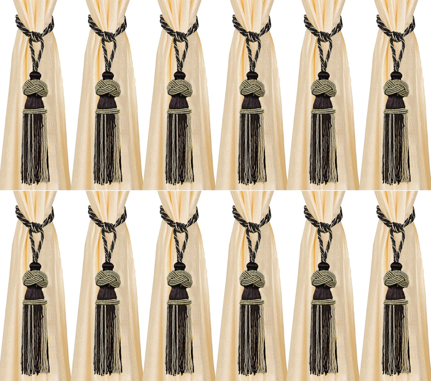 Kuber Industries Polyester 12 Pieces Curtain Tie Back Tassel Set (Brown) -CTKTC12782