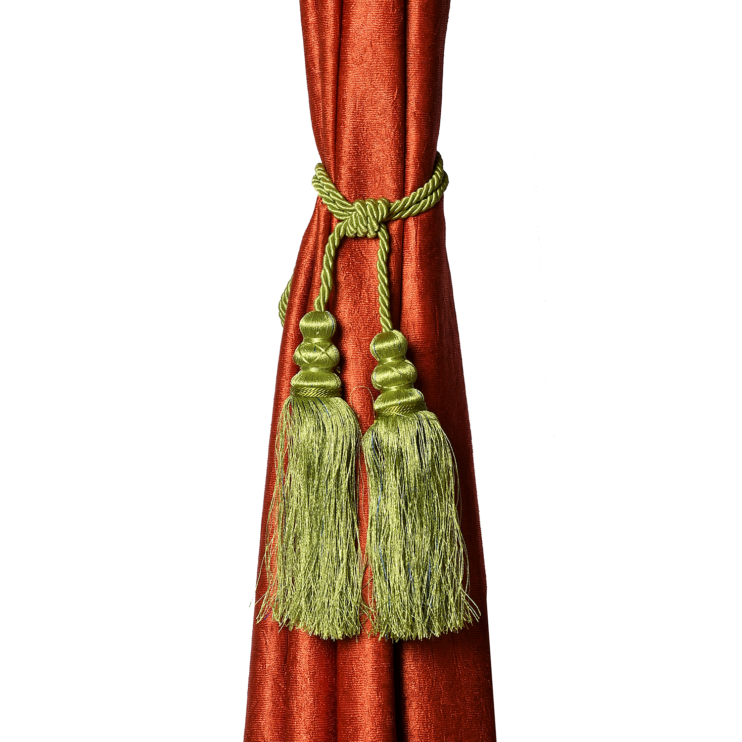 Kuber Industries Polyester 12 Pieces Curtain Tie Back Tassel Set (Green)