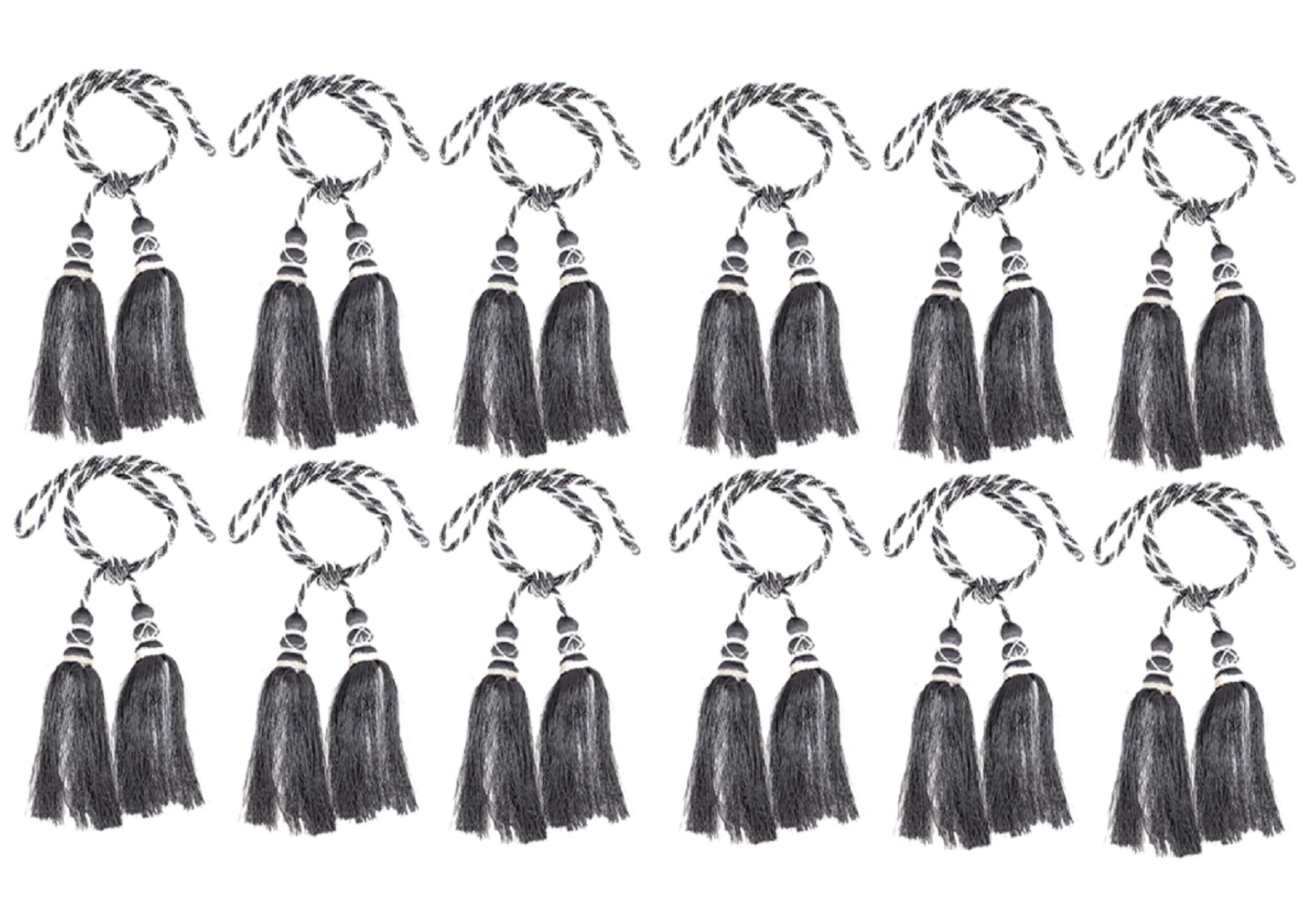 Kuber Industries Polyester 12 Pieces Curtain Tie Back Tassel Set (Grey)
