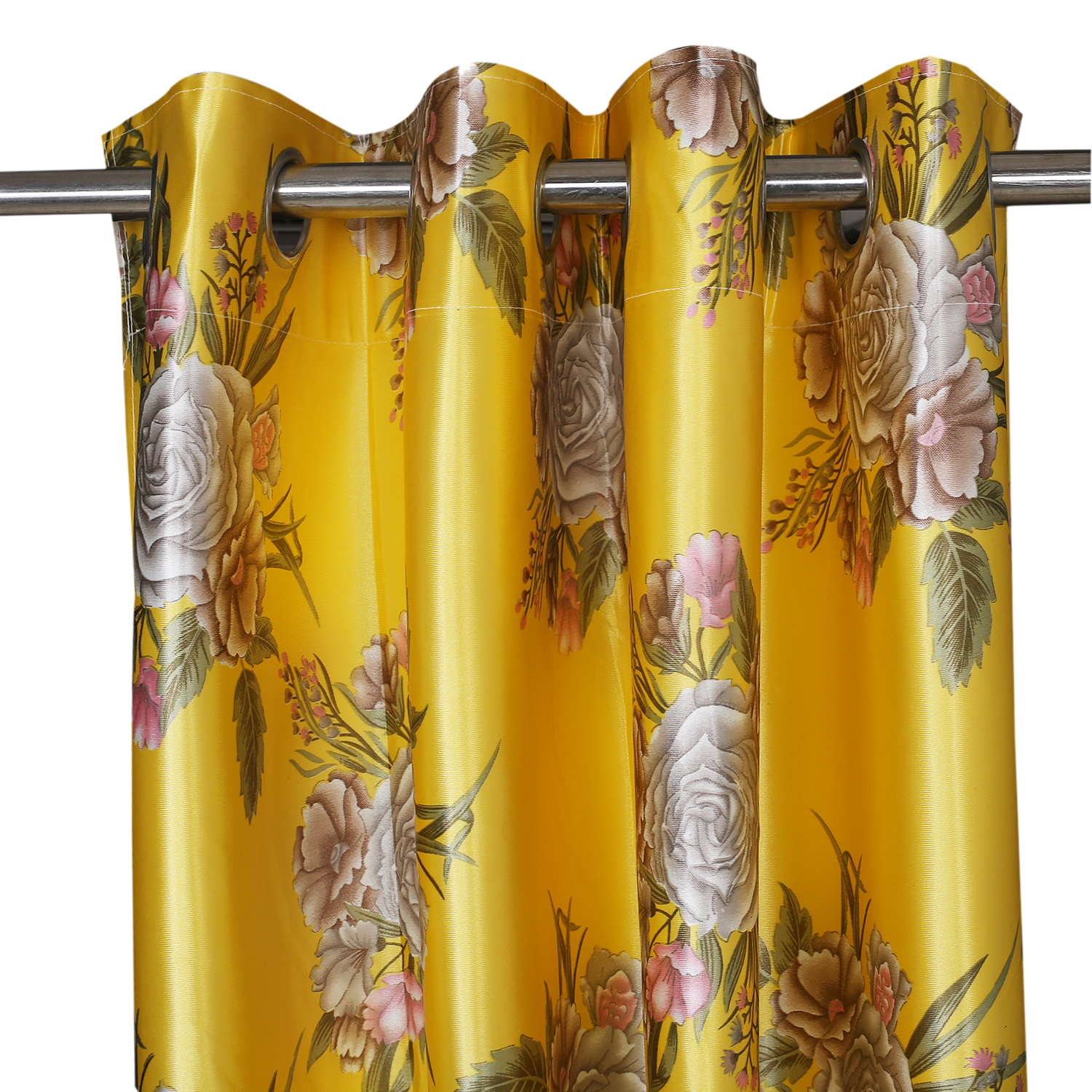 Kuber Industries Polyester 4 Pieces 7 Feet Eyelet Door Curtain (Gold) -CTKTC12948