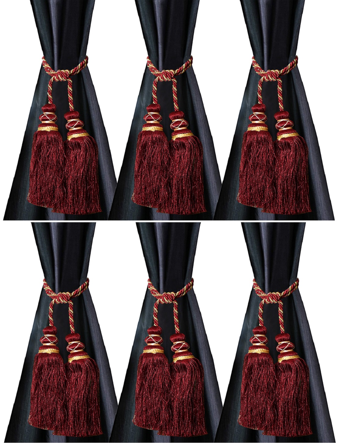 Kuber Industries Polyester 6 Pieces Curtain Tie Back Tassel Set (Maroon)