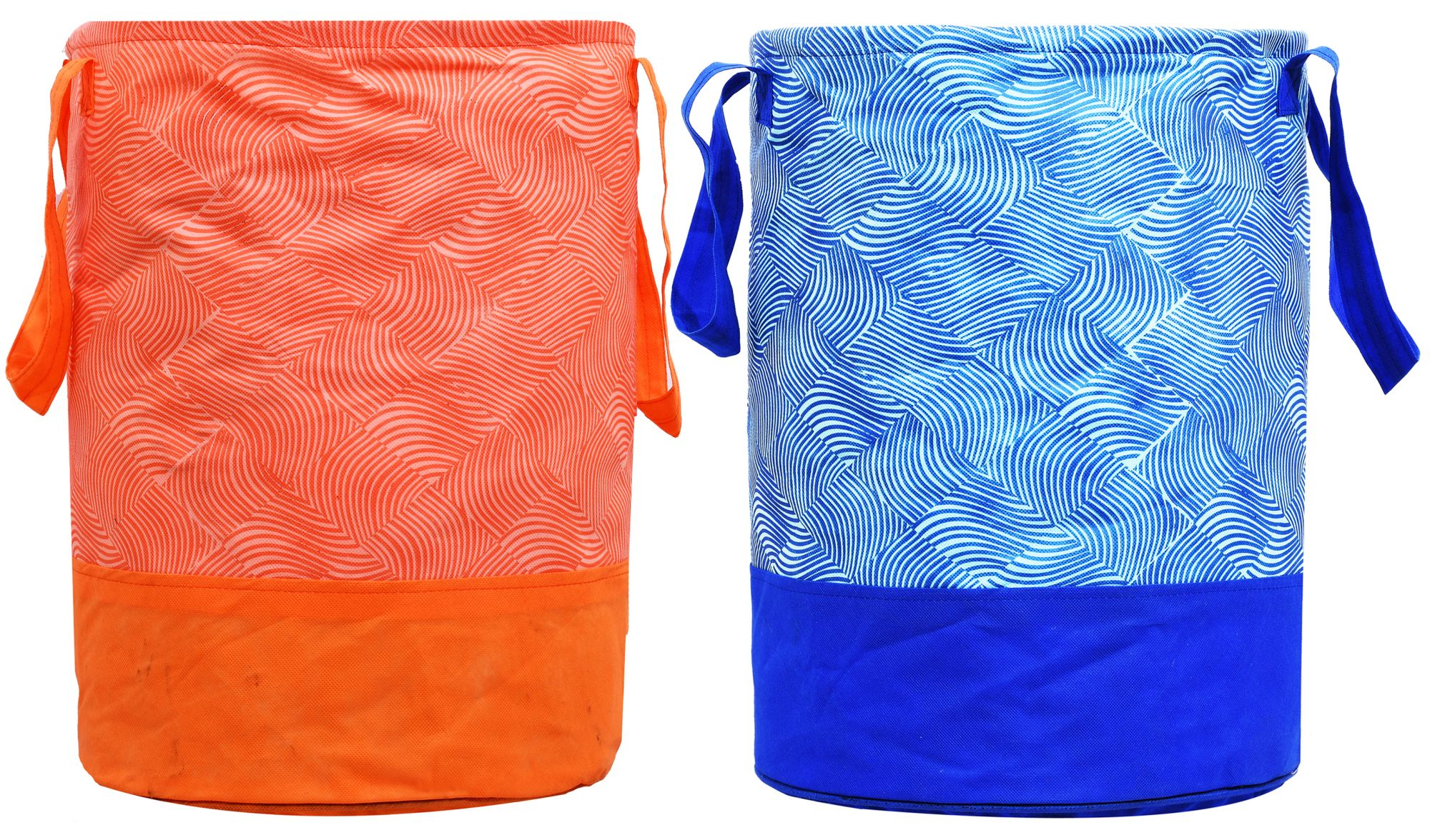 Kuber Industries Printed 2 Pieces Waterproof Canvas Laundry Bag,Toy Storage,Laundry Basket Organizer 45 L (Blue & Orange)