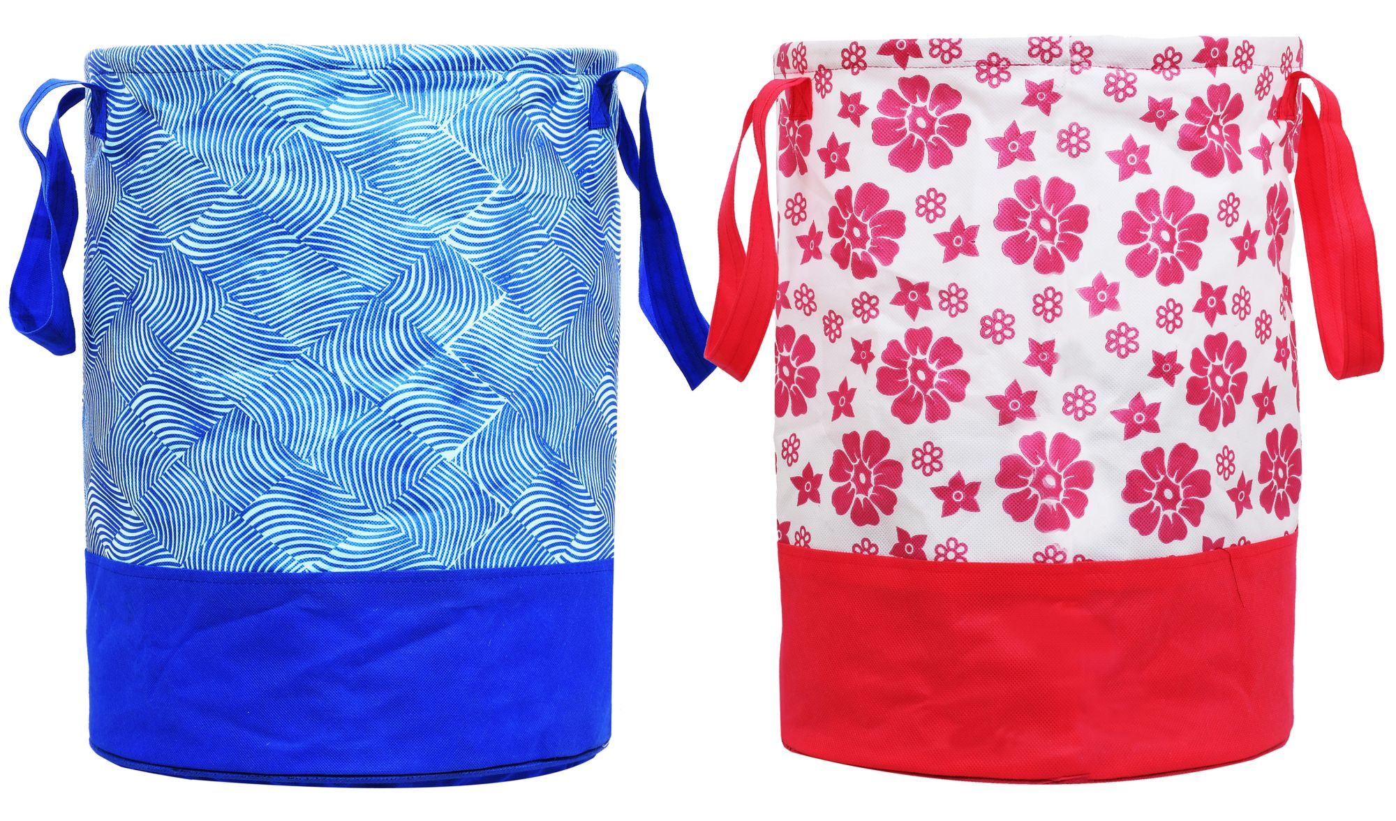 Kuber Industries Printed 2 Pieces Waterproof Canvas Laundry Bag,Toy Storage,Laundry Basket Organizer 45 L (Pink & Blue)