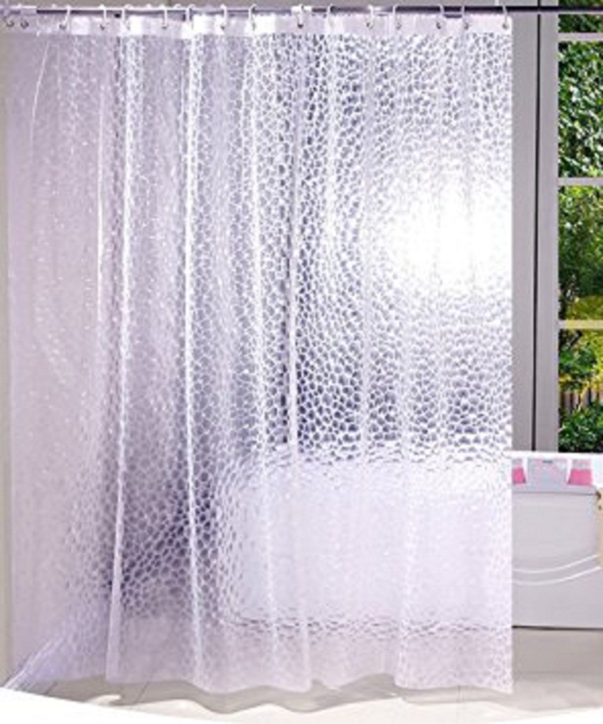 Kuber Industries PVC 0.20 MM AC Shower Curtain-8 Feet (Transparent)-CTKTC3537