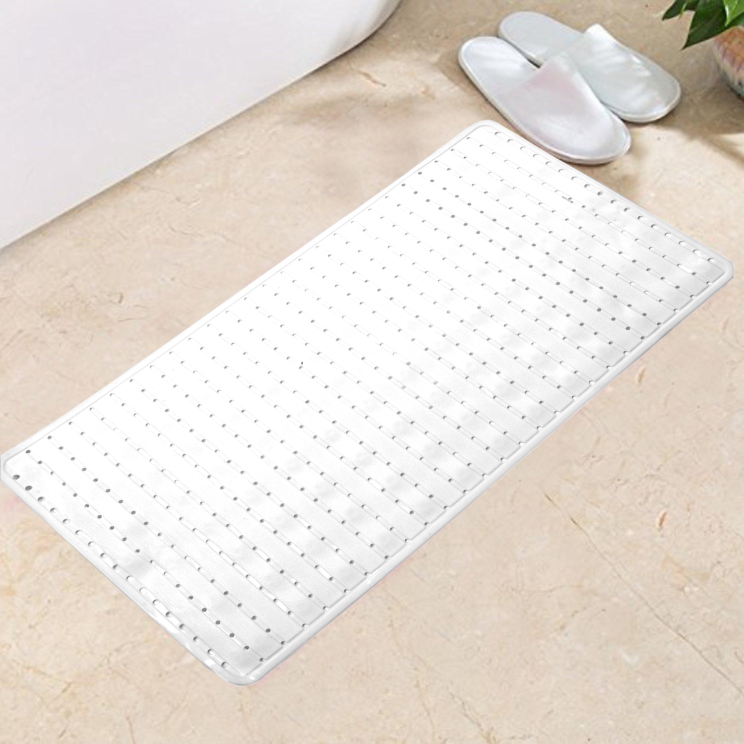 Kuber Industries PVC 1 Piece Bath Mat with Suction Cups (Cream)-CTKTC5586
