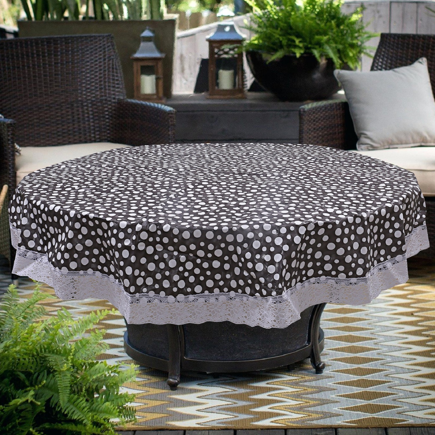 "Kuber Industries PVC 4 Seater Round Table Cover 60""x 60"" (Grey) -CTLTC11167"