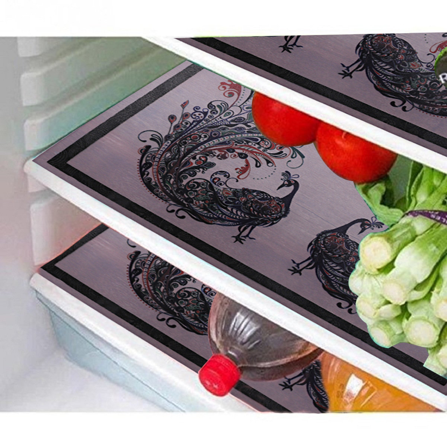 Kuber Industries PVC 6 Pieces Refrigerator Drawer Mats (Multi) -CTKTC8663