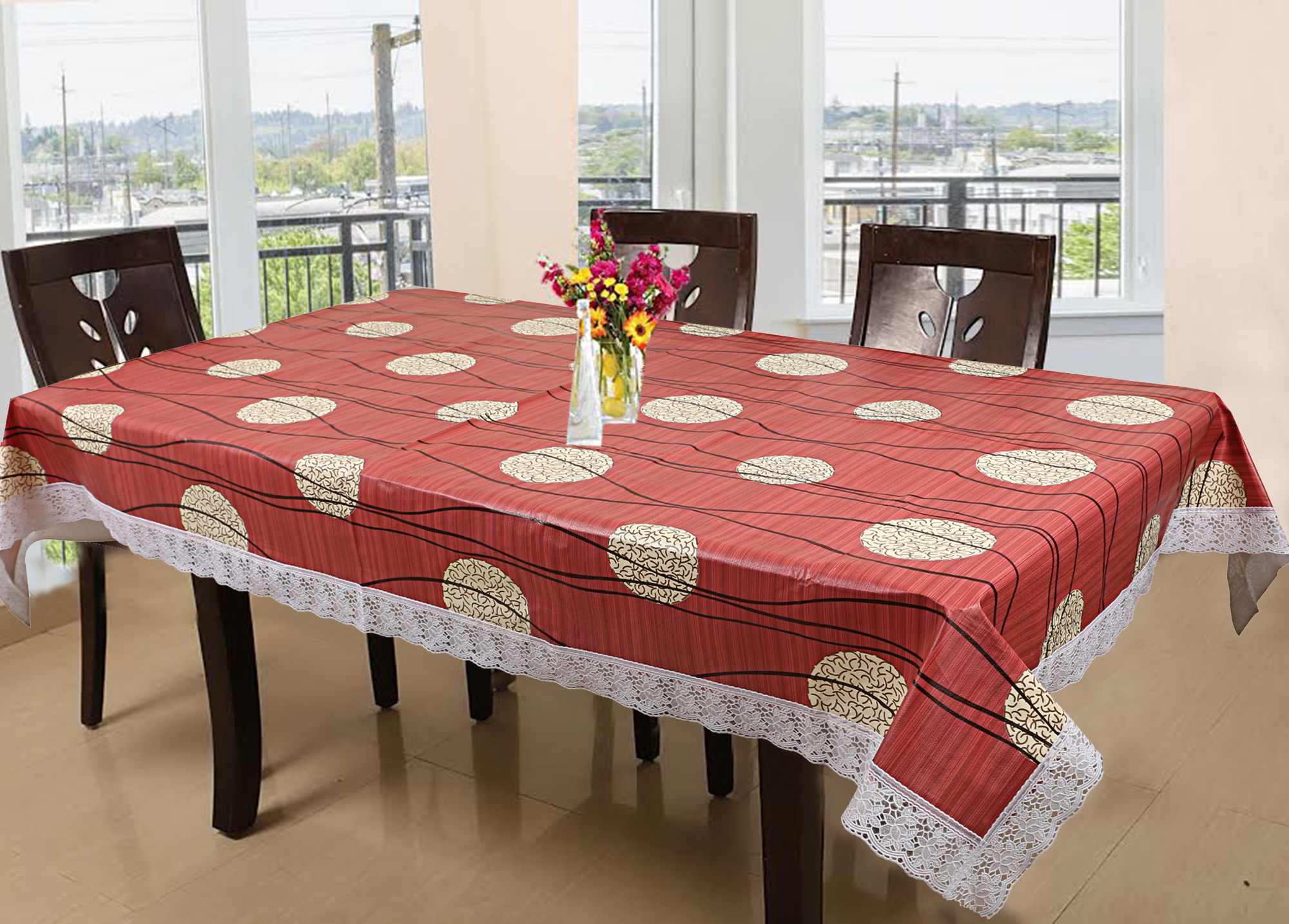 Kuber Industries PVC 6 Seater Dining Table Cover (Maroon)-CTKTC3524